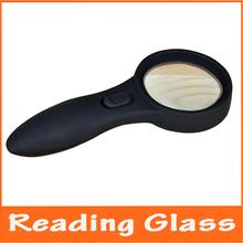 4x ancianos LED de lectura con luz de vidrio lupa de mano con lámparas iluminado lupa lupa con Detector de dinero