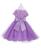 Spot Free shipping Retail Latest Design Girls Dresses Strap Rose Big Bow Dress up Princess Dress tutu Prom Dress 6 Colors
