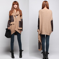 2013 autumn winters is big yards loose bat sleeve knit sweater shawl cardigan PU patchwork Sweater coat