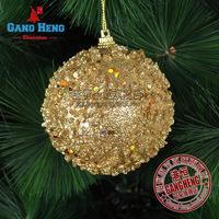 Mini mixed order $10 Christmas tree decoration accessories 8CM Christmas ball golden foam glued sequins luxury pendant 30g