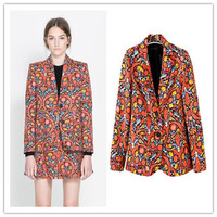 Free Shipping 2013 autumn new European style fashion ladies printed long paragraph two button suit jacket women