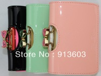 MG752 TED Bow candy genuine leather 100% solid short wallet wholesale drop shipping free shipping