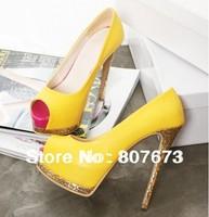 2013 popular peep open toe summer high heels pink/yellow/Black wedding/Party shoes women's luxury paillette high heels SHP21011