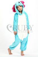 Fashion Christmas Kids Costumes Pajamas All in One Pyjama Animal suits Cosplay Children Flannel Blue Elephant Cartoon Onesies