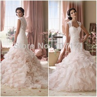 Luxury See Through Back Ruffle Organza Lace Mermaid Wedding Dress 2014