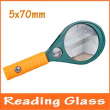 Gratis publica 5x, 10X recta asimiento de la mano lupa gafas de lectura de periódicos lupa para anciano niños educativos lupa