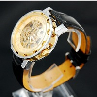 Free Shipping and Dropship Winner brand Mens Military Black Skeleton Hand Wind Mechanical Watch Wrist Watch PU Leather Strap