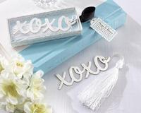 "2013 New Wholesale ""Hugs & Kisses"" Silver-Finish Bookmark with Elegant White Tassel (Set of 100 pcs) FEDEX DHL Free Shipping"