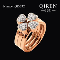 2013 three in one love ring titanium steel with CZ finger ring FF rose Gold color THREE LAYER ring QR-242