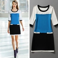 Superstar Runway Style Blue Dress Dresses women white blue black silk
