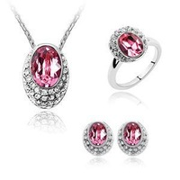 Min.order is $15/Free shipping/Wholesale/High qualityNew Austria pink crystal rhodium plated jewelry set