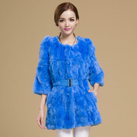 2013 rex rabbit hair fur coat medium-long female slim o-neck genuine fur vest