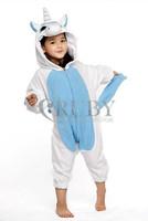 Fashion Christmas Kids Costumes Pajamas All in One Pyjama Animal suits Cosplay Children Flannel Blue Unicorn Cartoon Onesies