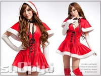 New Arrival!!2013-14 Cute Little Red Riding Hood Sexy Women Red Christmas Costumes Uniforms:Dress+Shawl,free shipping