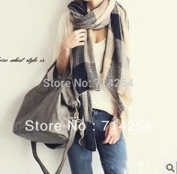 Universal soft fluffy female thin models retro plaid wool scarf knitted art---JOLINA SHOP(China (Mainland))