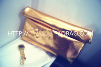 Original Retro Street beat Liang Pi curling gold silver clutch handbags