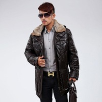 Medium-long sheepskin white duck down coat outerwear fashionable casual hooded rabbit fur male genuine leather clothing