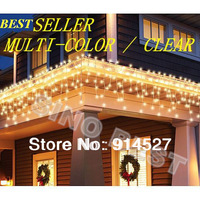 Free Shipping Outdoor 240 LED Icicle Lights 220V 110V RGB Garden CurtainChristmas Holiday Wedding Party Decorations Lighting