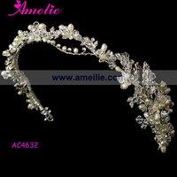 Free Shipping Wholesale Handmade Rhinstone And Pearl Bridal Headbands Ornaments