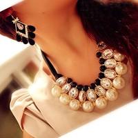 Min. order 9usd(mix order)Women 2014 New Fashion Luxury Sweet Pearl Ribbon Bib Choker Statement Collar Necklace