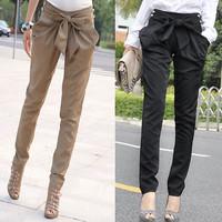 Women's Skinny Long Trousers OL casual Bow harem pants plus size Black, Khaki Free shipping