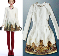 Free Shipping European Ladies' fashion handmade beading thickening cotton cloth print long-sleeve dress (white+S;M)131106#26