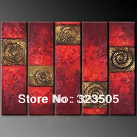5 piece wall art canvas huge Modern abstract red panel textured home decoration picture sets oil painting for sale free shipping