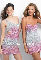 Popular Sheath Rhinestones Short Crystals Luxurious Silver and Pink Blush Prom Dresses 2014 Multi Colors