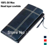 Line Plaid 100% Oil Wax Genuine Leather Vintage Wallet Women Long Style Soft Cowhide Retro Exquisite Purse Leather Bag