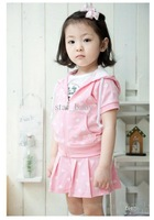 Wholesale 2012 Girls Clothing Set 2 pcs Hoodies T Shirt+Skirt Pink Diamond Design Summer Kid Clothing Suit Set