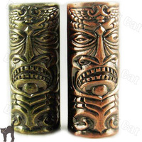 FS006 Wholesale Copper Carved Empaistic Tattoo Machine Grip With Back-stem Skull Reddish Brown free shipping