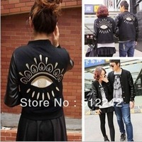 2013 spring autumn winter fashion women European gold embroidery PU patchwork black jacket outerwear coat tops free shipping xhf