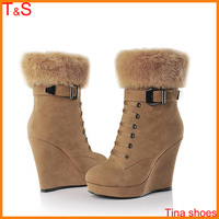 Free shipping winter fsahion high heel wedges for women ankle zip buckle rivets rabbit fur leather short plush boot shoes 991-10
