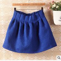 2014 new fashion autumn and winter for women slim high waist jacquard elastic waist pleated skirt bubble skirts