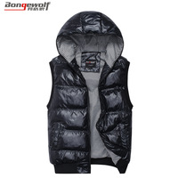 2014 Free Shipping Top Quality Famous Brand Mens Hooded Cotton vest mens thermal reversible cotton padded vest xl,xxl,3xl,4xl