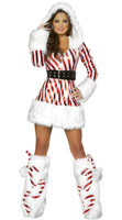 Hot Selling  Sexy Santa Party Costume Long Sleeves New Year  White Snowman Christmas Costume