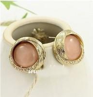 E425  Free Shipping Wholesales 2014 New Fashion Cute Rhinestone Opal Earrings Jewelry Accessories