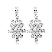 Flower Shape CZ Dangle Earrings