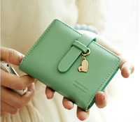 2013 new arrival fashion lady women's purse hot sale drawnstring Heart pendant short wallet handbag card holders 5 colors gift