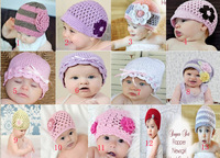 New Soft Baby Boy Girl Crochet Knit Flower Beanie Costume Hat 0-2 Years old