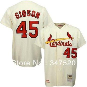 #45 Bob Gibson Men's Authentic 1967 Road Grey Throwback Baseball Jersey,Mens sport jerseys on sale