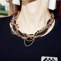 New Fashion multi layer choker chunky necklaces colares black rope beads gifts good quality women girls free shipping