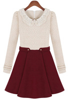 2013 Autumn/Winter New Style Design Hot Sale Fashion Women Cute Beige Long Sleeve Contrast Wine Red Bead Dress