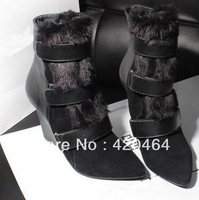 Wholesale Free Shipping 2013 Winter Snow Boots Ladies Rabbit Fur Wedge Boots Women Warm Fashion Design
