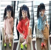 Retail Childrens Autumn winter clothing baby girls velvet clothes set cute cat plush coat+striped leggings Free shipping