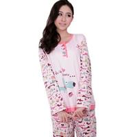 Spring and autumn Women pure cotton long-sleeve sleepwear lounge set women's 100% short-sleeve cotton plus size sleepwear
