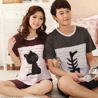 2013 summer lovers Pajama sleepwear summer short-sleeve cartoon 100% cotton lounge
