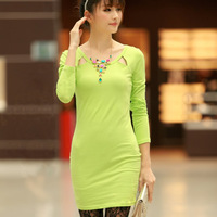 2013 autumn brief slim one-piece dress long-sleeve cutout dress solid color o-neck basic skirt