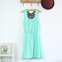 Small fresh chiffon one-piece dress fashion dress tank normic cutout dress back all-match sleeveless