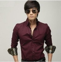 2013 autumn new men's long-sleeved shirt, silk trim. Free shipping, men's slim long-sleeve slim casual shirt